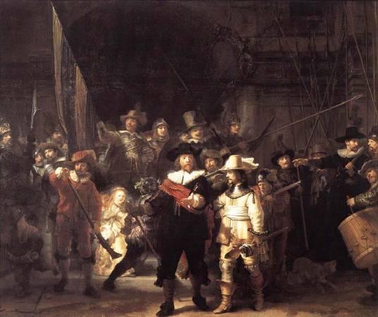 《夜巡》, Rembrandt Harmenszoon van Rijn, Image from http://www.taiwanartist.tw/GSR/gsr08-3.html