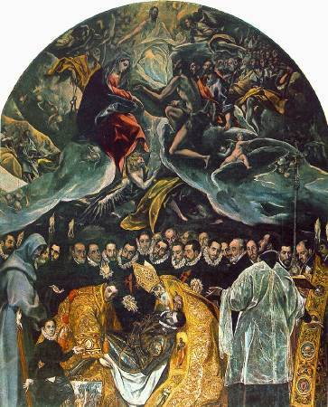 《奧爾加斯伯爵的葬禮》, El Greco, Image from http://vr.theatre.ntu.edu.tw/hlee/course/th6_520/sty_16c/painting/greco.htm