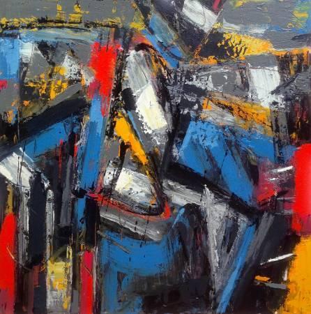 阿旺・達密|《冉冉時光》系列-藍色稻草人  複合媒材  91x91 cm  2016