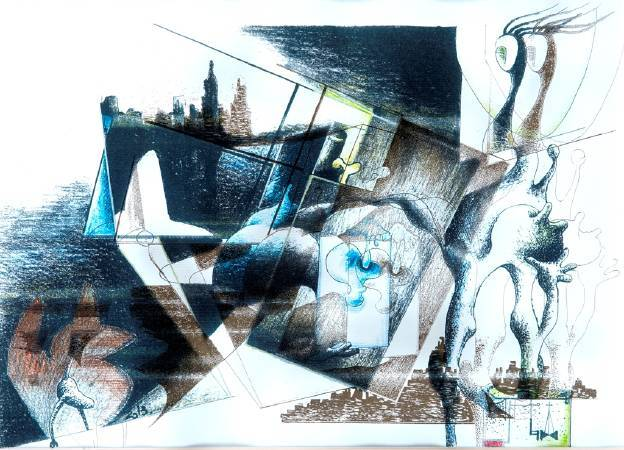 張明錫的回家Ⅰ Ⅱ Ⅲ系列,由回家Ⅰ的初始型態、構圖可以非常直白的進入他的畫境。粉彩塗布,人形體與建築體的扭曲、重疊、解構、鏡射、虛實………,交織出魔幻的生命篇章