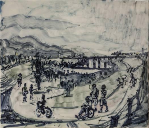 李戊崑 《漫步宜蘭河邊》 2016   36×42公分  瓷土彩繪