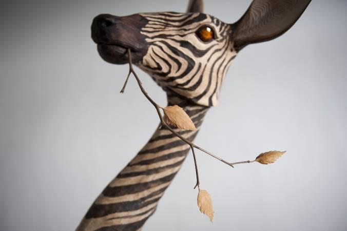 指鹿為馬NO.4(局部) -73×84×186cm-樟木、杉木、紅檜、扁柏、生漆-2016