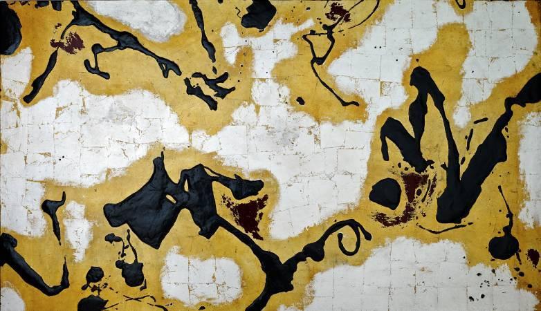汪天亮  漆的交響  150x260cm  漆、綜合媒材  2016