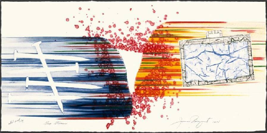 詹姆斯.羅森奎斯特 James Rosenquist, 氣流 Slip Stream, 彩色銅版畫與廣告拼貼etching and collograph in colors , 1975, 45 cm x 91.5 cm