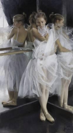 Vicente Romero Redondo《Ballerina》Pastel on Ingres paper over an impasto base 56×100cm 2016