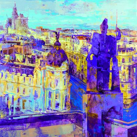 Alfonso Cuñado《Atenea over Madrid》Oil on Panel 100×100 2016