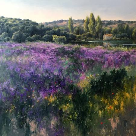 Fermin Garcia Sevilla《Violetas》Oil on Panel 90×90cm 2016