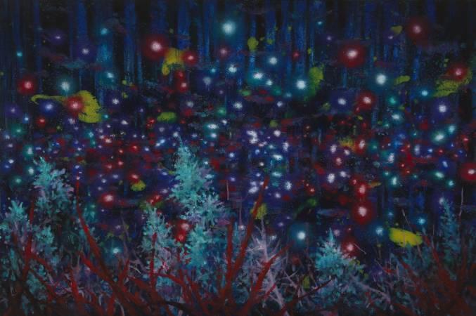 趙博《夜晚的森林》,油彩、畫布,100x150cm, 2016。
