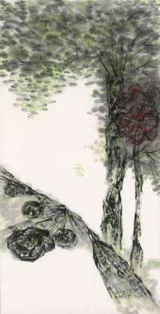 許雨仁《彩墨系列之三十三》 138×70cm 2013 彩墨、紙
