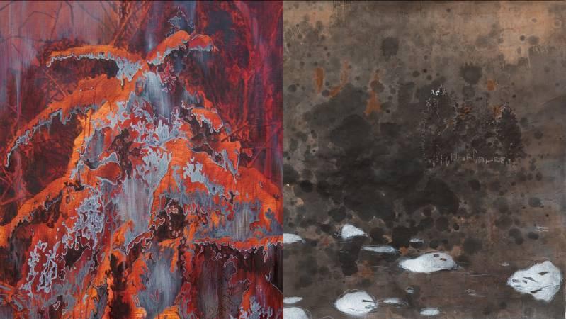 (左)劉芸怡| 時間是雪,一次又一次覆蓋記憶殘骸(局部)| 119x68cm| 壓克力、畫布| 2017| (右)陳瑩芝| 懸浮的河(局部)| 59x59 cm| 複合媒材、雙宣| 2017