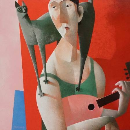 Peter H. Harskamp《Man with Green Cat and Mandolin》Oil on Canvas 100×100cm 2016荷蘭