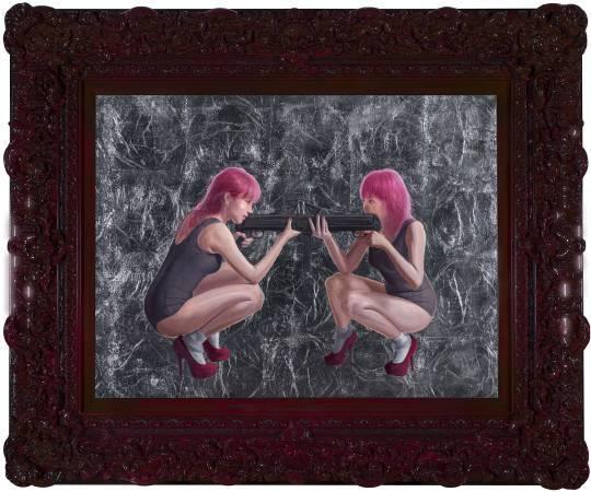 李承道LEE Chen Dao|妖精打架-相親相愛|113x91cm|Oil on canvas油彩、畫布|2016