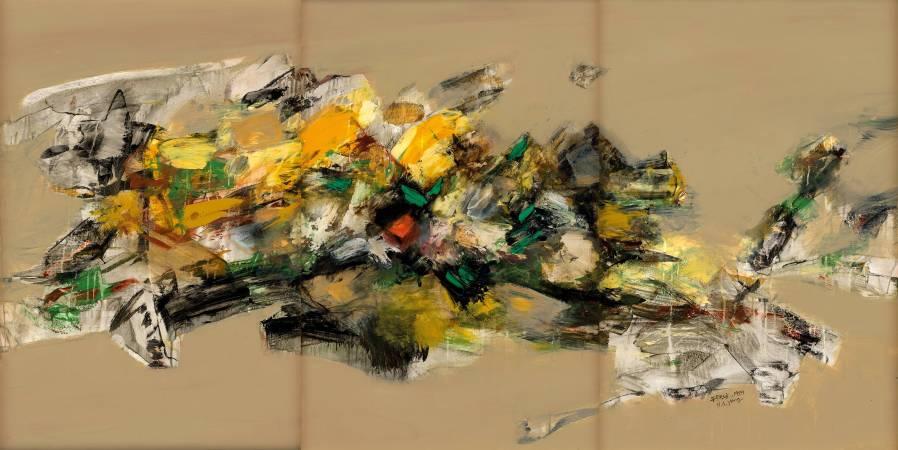 楊興生 - 抽象17 - 1989 - 油彩 畫布 Oil on Canvas - 112x72cmx3 (三聯作)