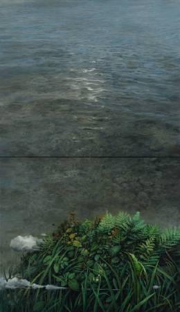 陳俊華〈島內島外〉2017.91×53cm.油彩畫布