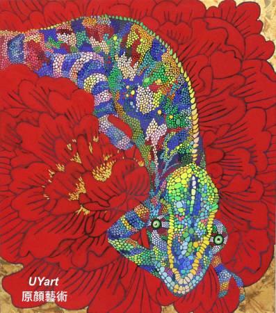花床 53×45.5㎝(10F) 高知麻紙、墨、虹彩箔、礦物顏料、壓克力