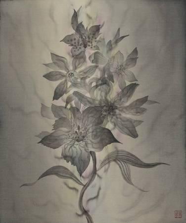 劉信義│輕柔的漫舞 Tender Dance│ 水墨絹本設色 Colored ink on silk│ 45x38cm 1.9才│ 2017