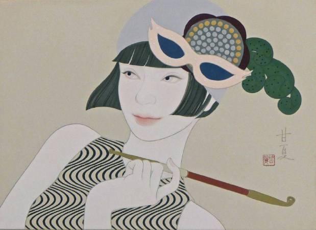 蒼野甘夏  作「Lady is a tramp」24.2x33.3cm(F4) 日本畫(天然礦物的粉,膠質,和紙,木板)2016年
