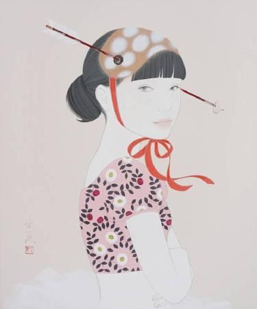 蒼野甘夏 作 「Vector」 日本畫(天然礦物的粉,膠質,和紙,木板)F8(h45.5cm×37.9㎝) 2017年