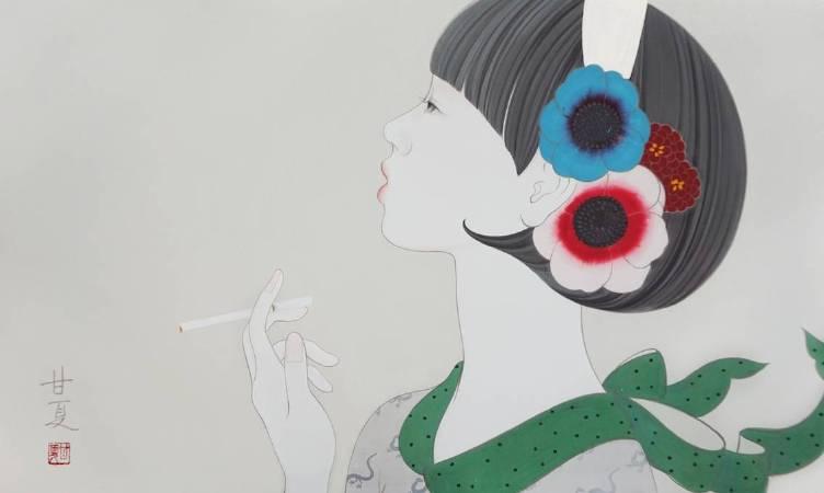 蒼野甘夏 作「Smoke」日本畫(天然礦物的粉,膠質,和紙,木板)M8(h27.3㎝x45.5㎝)2016年