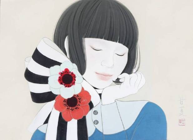 蒼野甘夏 作 「Dream」日本畫(天然礦物的粉,膠質,和紙,木板)F4(h24.2x33.3cm)2017年