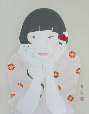 蒼野甘夏 作「Smile」日本畫(天然礦物的粉,膠質,和紙,木板)F6(h41×31.8㎝)2017年