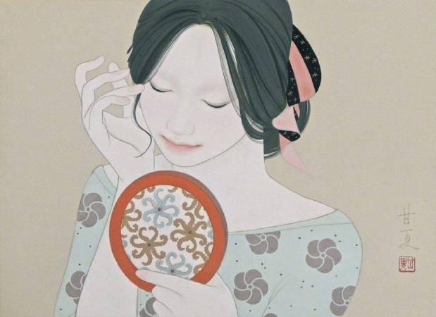 蒼野甘夏 作「Carry on」24.2x33.3cm(F4) 日本畫(天然礦物的粉,膠質,和紙,木板)2016年