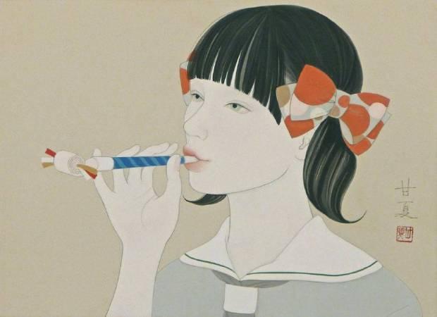 蒼野甘夏 作「Come rain or come shine」24.2x33.3cm(F4) 日本畫(天然礦物的粉,膠質,和紙,木板)2016年