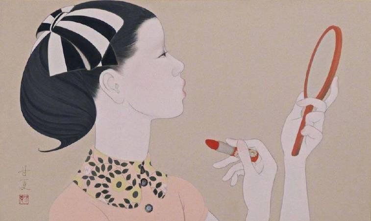 蒼野甘夏 作「Waltz for debby」27.3x45.5cm(M8) 日本畫(天然礦物的粉,膠質,和紙,木板)2016年