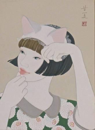 蒼野甘夏 作「The Other Woman」33.3x24.2cm(F4) 日本畫(天然礦物的粉,膠質,和紙,木板)2016年