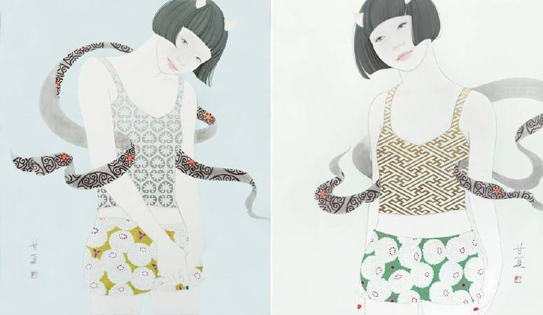 蒼野甘夏 作「Humming_風(左邊)」「Humming_雷」日本畫(天然礦物的粉,膠質,和紙,木板)兩幅都是 F10(h53x45.5cm)2017年