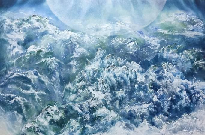 簡志剛│湛 Deep Blue │65x100cm │水墨, 複合媒材│ 2017