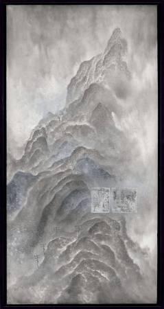 洪郁喜│格律與遠方Exotic rule│水墨、礦物顏料、銀箔│70x34cm│2017