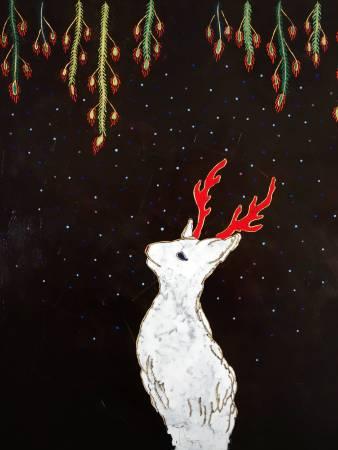 夏愛華│像是初雪的夜│120×80×5 cm│漆、木板、岩彩、金箔│2017