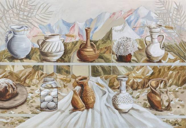 許尹齡,當我的話語是麥粒,2017,油彩、畫布,110 x 160 x 5cm HSU Yin-Ling, When My Words Were Wheat, 2017, Oil on canvas, 110 x 160 x 5cm