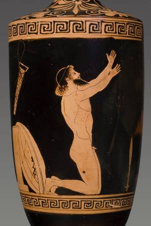 Lekythos with the Suicide of Ajax ca. 460 BC. Terracotta, Red-figure, attributed to the Alkimachos Painter Attica Antikenmuseum Basel und Sammlung Ludwig