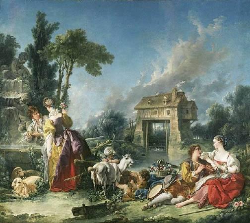 布雪《愛之泉》(The Fountain of Love),1750。圖/取自Wikiart.org。