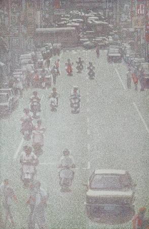 韓湘寧_台北武昌街_168.5 x 111.5 cm  _壓克力、畫布_1990