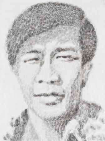 韓湘寧_60青年系列-台北人-2_102 x 76 cm_墨點於紙上_2006