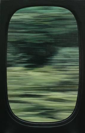廖震平Liao Zen-Ping, 車窗-新幹線 window-shinkansen, 油彩、壓克力、麻布oil and acrylic on linen, 53x33.3cm, 2017