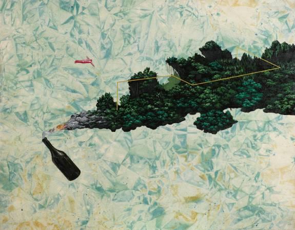 蔡士弘 汽油彈島 116.5x90cm 2014 壓克力彩 炭