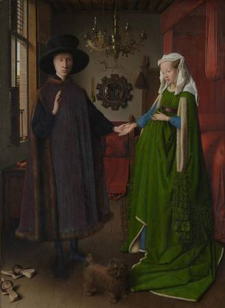 NG186 Jan van Eyck Portrait of Giovanni (?) Arnolfini and his Wife and 'The Arnolfini Portrait'  1434 Oil on oak 82.2 x 60 cm National Gallery, London © The National Gallery, London