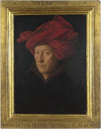 NG222 Jan van Eyck Portrait of a Man (Self Portrait?) 1433 Oil on oak 26 x 19 cm National Gallery, London © The National Gallery, London