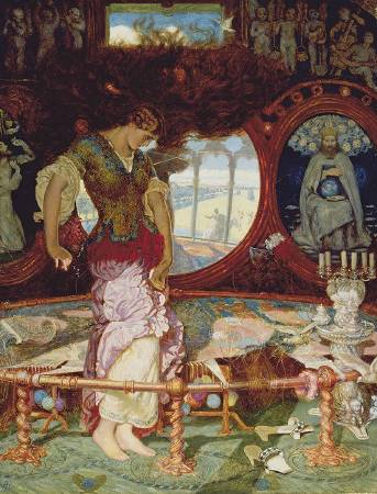 X3176 William Holman Hunt The Lady of Shalott, about 1886-1905 Oil on wood 44.4 x 34.1 cm Manchester Art Gallery © Manchester City Galleries/Bridgeman Images