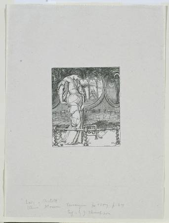 X8895 William Holman Hunt The Lady of Shalott, engraved by J. Thompson, 1857 Wood engraving on paper 9.5 × 7.9 cm © Tate, London (N04052)