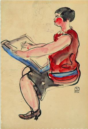 常玉 - 著紅衣作畫中的女子