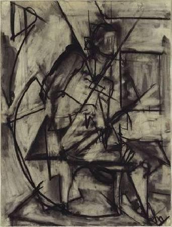克拉斯納《坐姿裸女》(Seated Nude),1940。