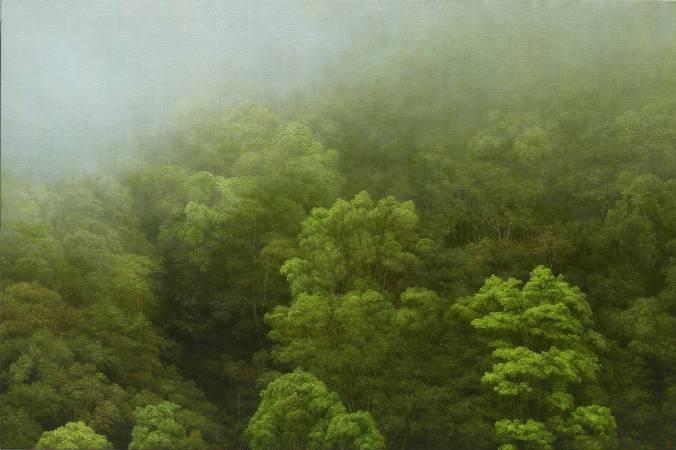 葉子奇|四月的霧・玉里赤柯山|2017|卵彩油畫/亞麻布|28x42英吋(71.12x106.68cm)