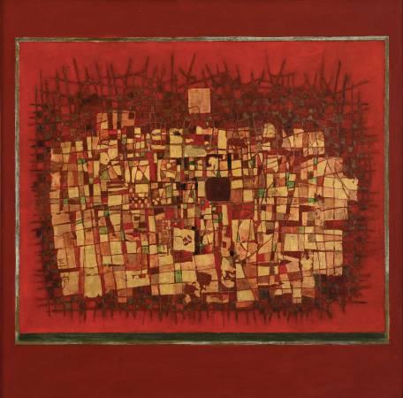 1976_鍾泗濱 紅色動能1976 綜合媒材畫布  84×84cm
