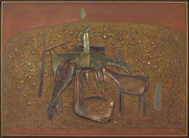1974_鍾泗濱  山羊  1974  綜合媒材  66×91cm