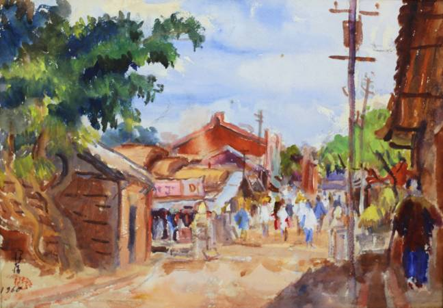 李澤藩 新竹後街 1960年 41x51.5cm 水彩紙本 / LEE Tze-Fan Hsinchu Backstreet 1960 41x51.5cm Watercolor on paper